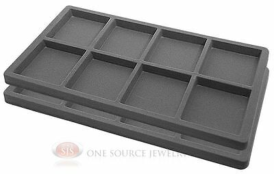 2 Gray Insert Tray Liners W/ 8 Compartments Drawer Organizer Jewelry Displays