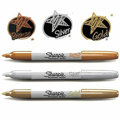 Sharpie Fine METALLIC Permanent Marker Pen - Gold, Bronze, Silver - 1 or 3 Pack