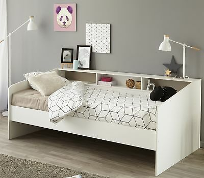 bettgestell jugendbett 90 x 200 cm massivholz wei. Black Bedroom Furniture Sets. Home Design Ideas