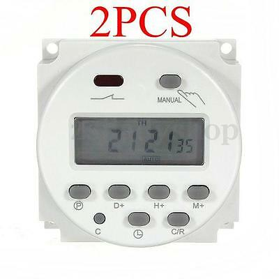 2PCS LCD Digital Power Programmable Time Relay Control Switch Timer DC 12V 16A