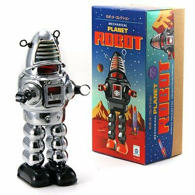 New Tobar Wind up Tin Chrome Mechanical Planet Robot Traditional Collectible Toy