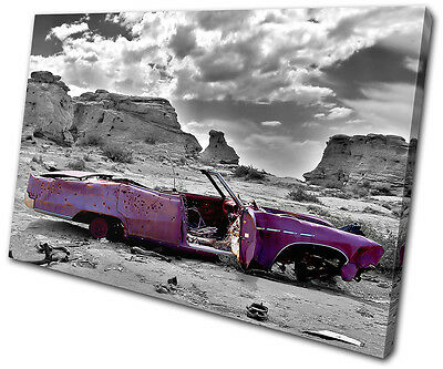 Canvas Art Picture Print Decorative Photo Decayed Car urban abstract Vintage