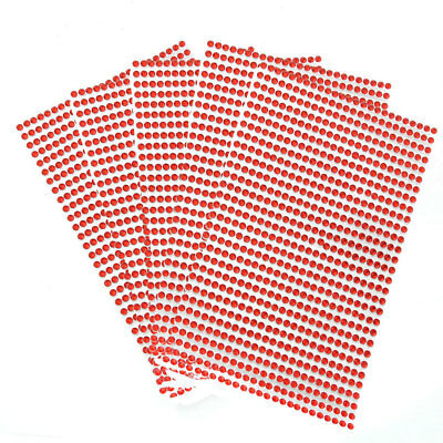 5pcs Bling Stickers Gem Sparkle Strip Stickers Adhesive Stick on Crystal Red