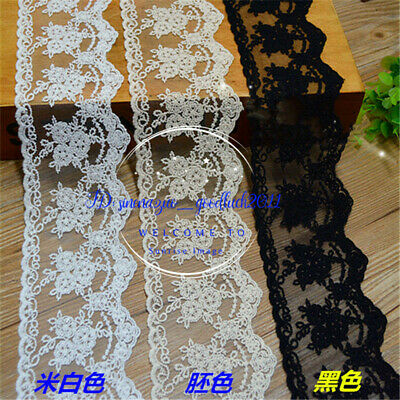 1yard Delicate 8.5cm embroidered flower Cotton tulle lace trim Sewing DIY FL144