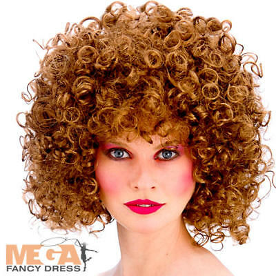 Brown Curly 80s Disco Perm Wig Ladies Fancy Dress 1980s Adults Costume Accessory