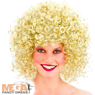 Blonde Curly 1980s Disco Perm Wig Ladies Fancy Dress 80s Adult Costume Accessory