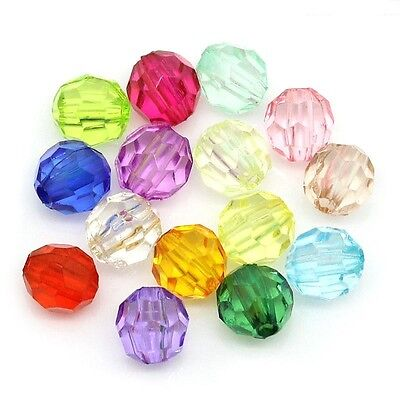 300 Faceted Acrylic Round 6mm Beads Mixed Colours J24721