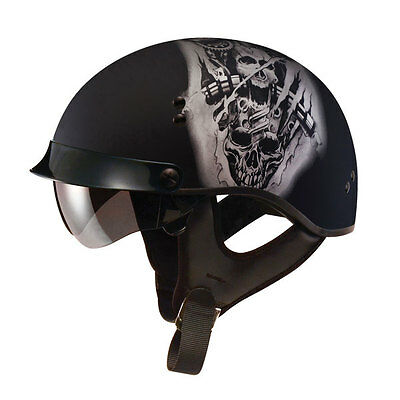 Flat Black Tor Motorcycle Half Helmet Retractable Visor Cruiser Men Women Sizes