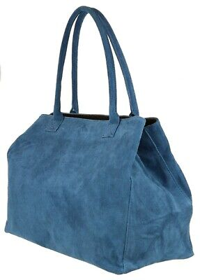 Expandable Italian Real Genuine Suede Leather Shoulder Bag Top Handle Oversized