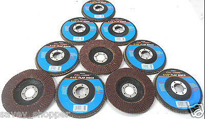 "Lot Of 10-4 1/2"" Inch X 7/8"" Flap 40 Grit Wheel Sanding Disc Aluminum Oxide"