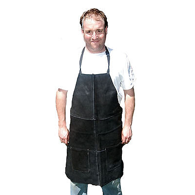 HAWK AL001A-BLK - Genuine Black Leather Shop Apron Wood Work Carpenter Welding