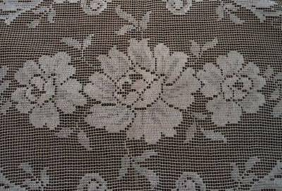 Antique Filet Lace Placemats Beige Embroidered Flowers Picot Edge Set of 5