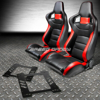 Black/red Pvc Leather Sports Style Racing Seats+Bracket+For 92-99 Bmw E36 Coupe