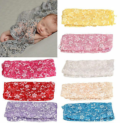 Newborn Baby Girl Lace Wrap Blanket Gauze Kerchief Costume Photography Props New