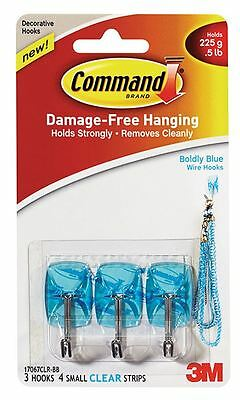 3M Command Wire Decorative Utensil Hooks Boldly Blue Damage Free
