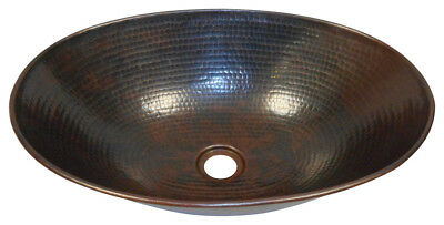 "17"" Oval Hammered Wire Rimmed Copper Vessel Countertop Sink"