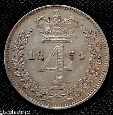 1864 Victoria Maundy Fourpence Higher Grade Example