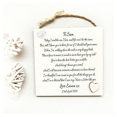 Sister Personalised Wedding Thank You Bridesmaid Maid of Honour Wooden Card W222