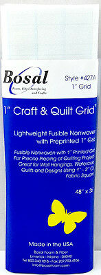 "NEW Bosal 3504-02  Craft and Quilt Light Fusible Non-Woven with 1"" Grid 120x90cm"