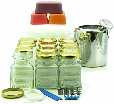 12 square jars candle making kit ~Jug, thermometer, scented & coloured wax, wick