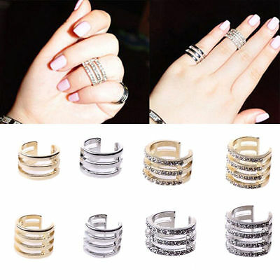 Band Above Knuckle Top Tip Unisex Mid Finger Plain Crystal Ring Stack T