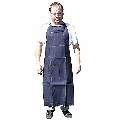 Blue Denim Apron Long Knee High Wood Working Shop Use Home Catering - HAWK AD019