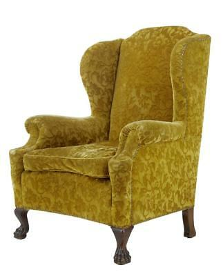 1920's CARVED MAHOGANY WING BACK ARMCHAIR • £895.00
