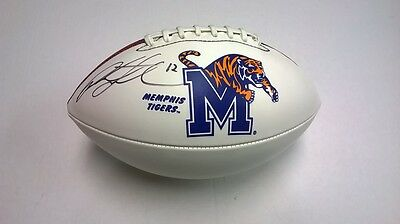 PAXTON LYNCH Memphis Tigers SIGNED Logo Football DENVER BRONCOS 2016 NFL DRAFT