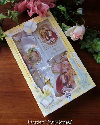7pc BOYS 1ST FIRST COMMUNION GIFT SET - Missal Rosary Candle Cross Pin Scapular