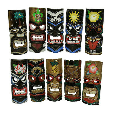 Set of 10 Polynesian Tiki Style Wall Masks 11 Inches