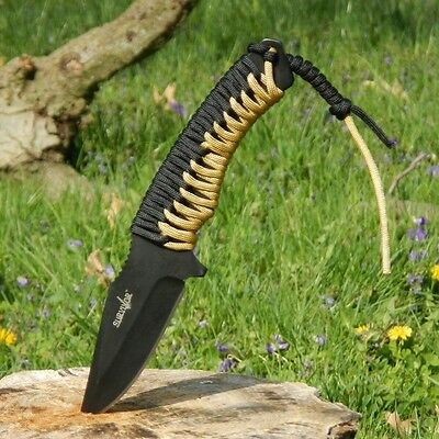 "9.25"" TACTICAL COMBAT FULL TANG Survival HUNTING KNIFE Fixed Blade Fire Starter"