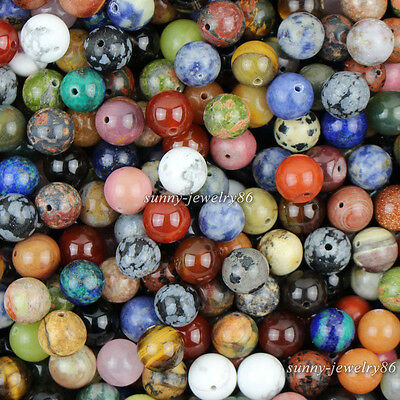 Natural Mixed Stone Gemstone Round Spacer Loose Beads 4mm,6mm,8mm,10mm,Pick