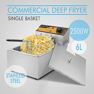 New Stainless Steel Deep Fat Fryer with Timer Fish Chip Basket 2500w 10 Litre