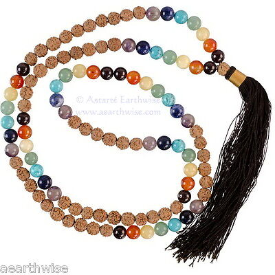 7 CHAKRA MALA NECKLACE WITH RUDRAKSHA BEADS & GEMSTONES Yoga Wicca Witch Pagan