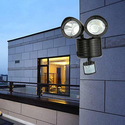 22LED Solar Adjustable Double Heads Security Wall Lamp Light Motion Outdoor B0I5