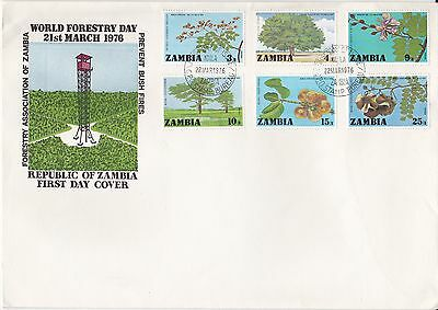 ZAMBIA 1976 FORESTRY Stamps Set 6v FIRST DAY COVER Ref:LF33