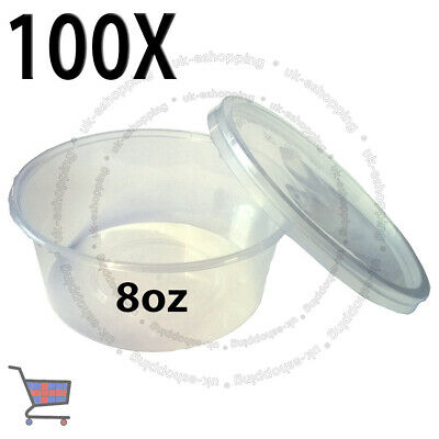 100 PLASTIC ROUND CONTAINERS TUB WITH LIDS CLEAR FOOD SAFE TAKEAWAY 8oz 120x30mm