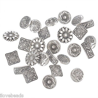 50PCs Mixed Antique Silver Round Metal Buttons Flower Sewing Scrapbooking