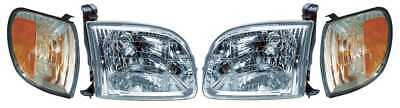 2pc Head and 2pc Parking Corner Lights Assembly w/o Bulb for 00-04 Toyota Tundra