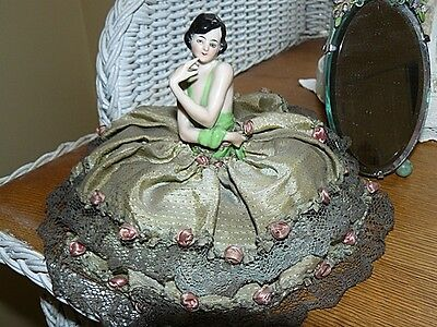 German Porcelain  Half Doll Hands Away  Trinket Box Rosettes & Lace Stunning!