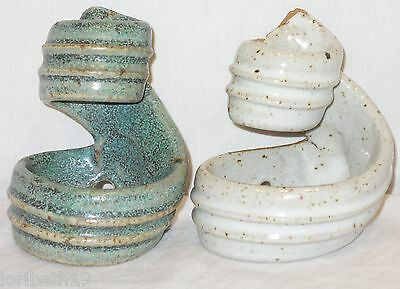 SCONCES Glazed Clay Holders Rich Colors Art Pottery Lot 2 Candle Mother's Day! • CAD $13.85