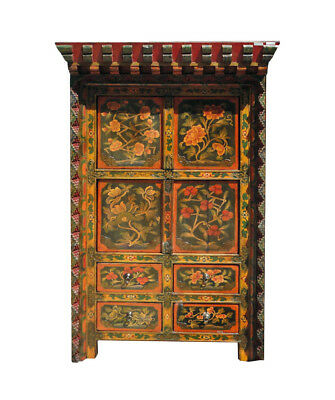Tibetan Antique Flower Hand Paint Carving Storage Cabinet WK2522