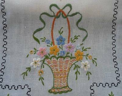 Vintage Hand Embroidered Table Runner Yellow Pansy Flower Basket Blue Lace Bows