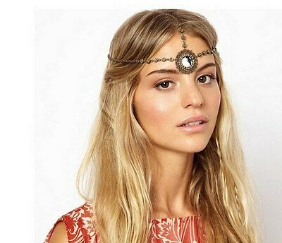 Women Fashion Metal Rhinestone Head Chain Jewelry Headband Head Piece Flower AG