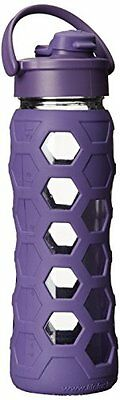 Lifefactory 22 Ounce Glass Bottle with Flip Cap and Silicone Sleeve Royal Purple