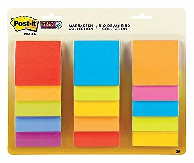 Post it 3 x 3 Inches Super Sticky Notes Assorted Colors Pack of 15 45 Sheets Pad