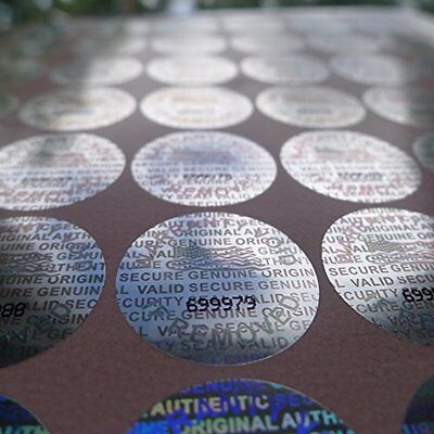 100 Silver Hologram Sequentially Numbered Tamper Evident Security Label stickers
