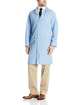NEW Red Kap Mens Red Kap® Lab Coat Light Blue Large FREE SHIPPING