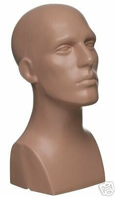 NEW 15 Tall Male Mannequin Head Durable Plastic Flesh 50013 FREE SHIPPING