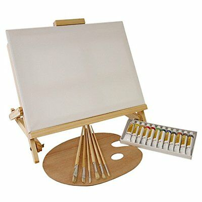 US Art Supply® 21 Piece Oil Painting Table Easel Set 12 Tube Colors 11x14 Canvas